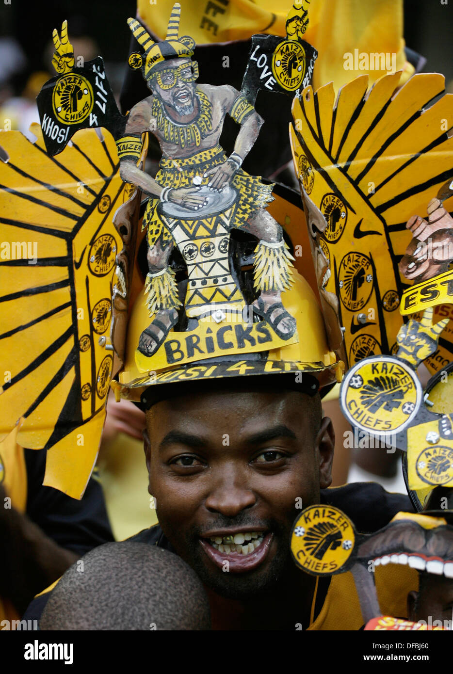 Kaizer Chiefs fans Moses Mabhida Stadium in Durban during their match with Mamelodi Sundowns December 19 2009 Durban is one - Stock Image