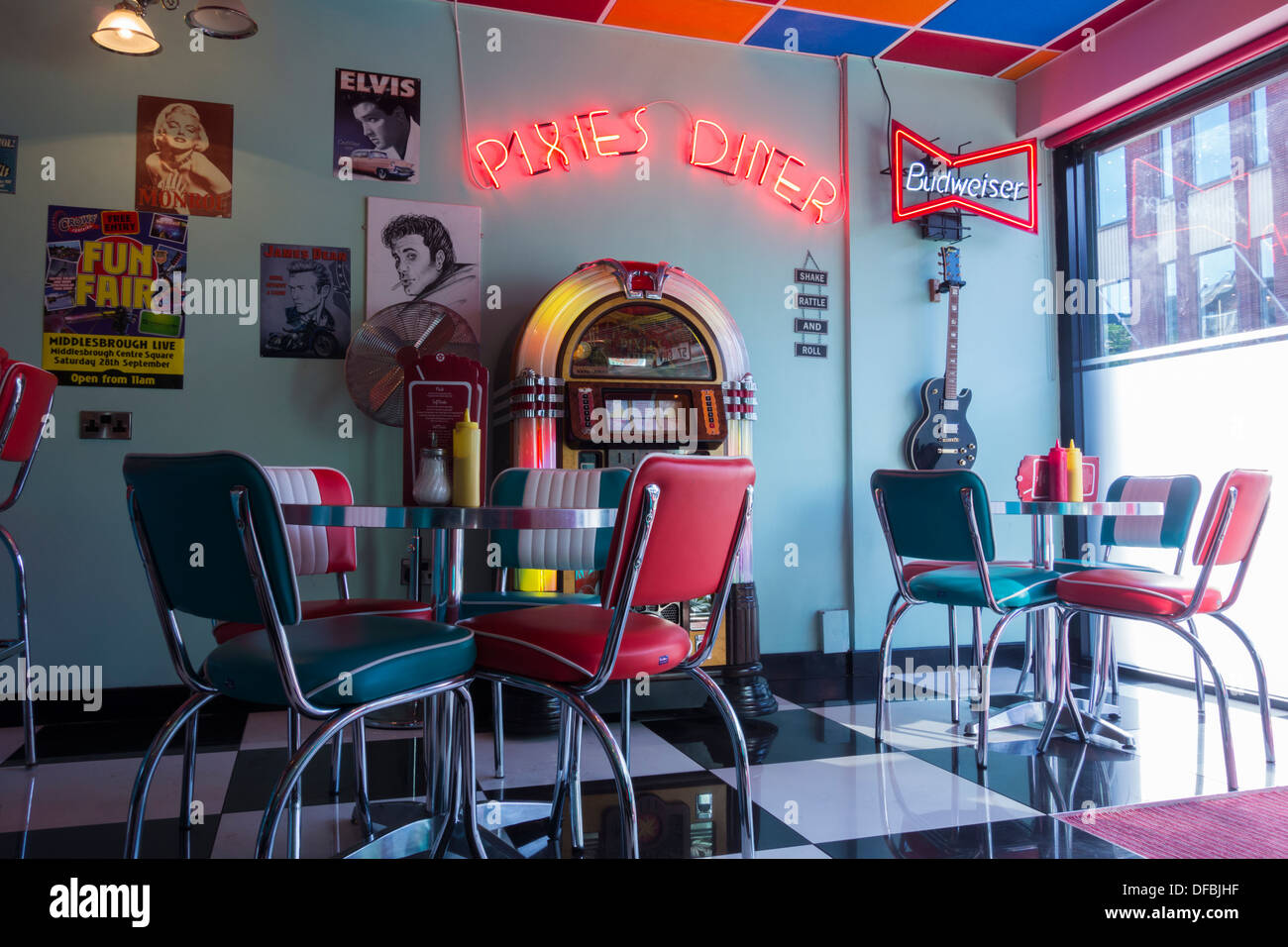 Pixies Diner on Linthorpe road, Middlesbrough, England, UK - Stock Image