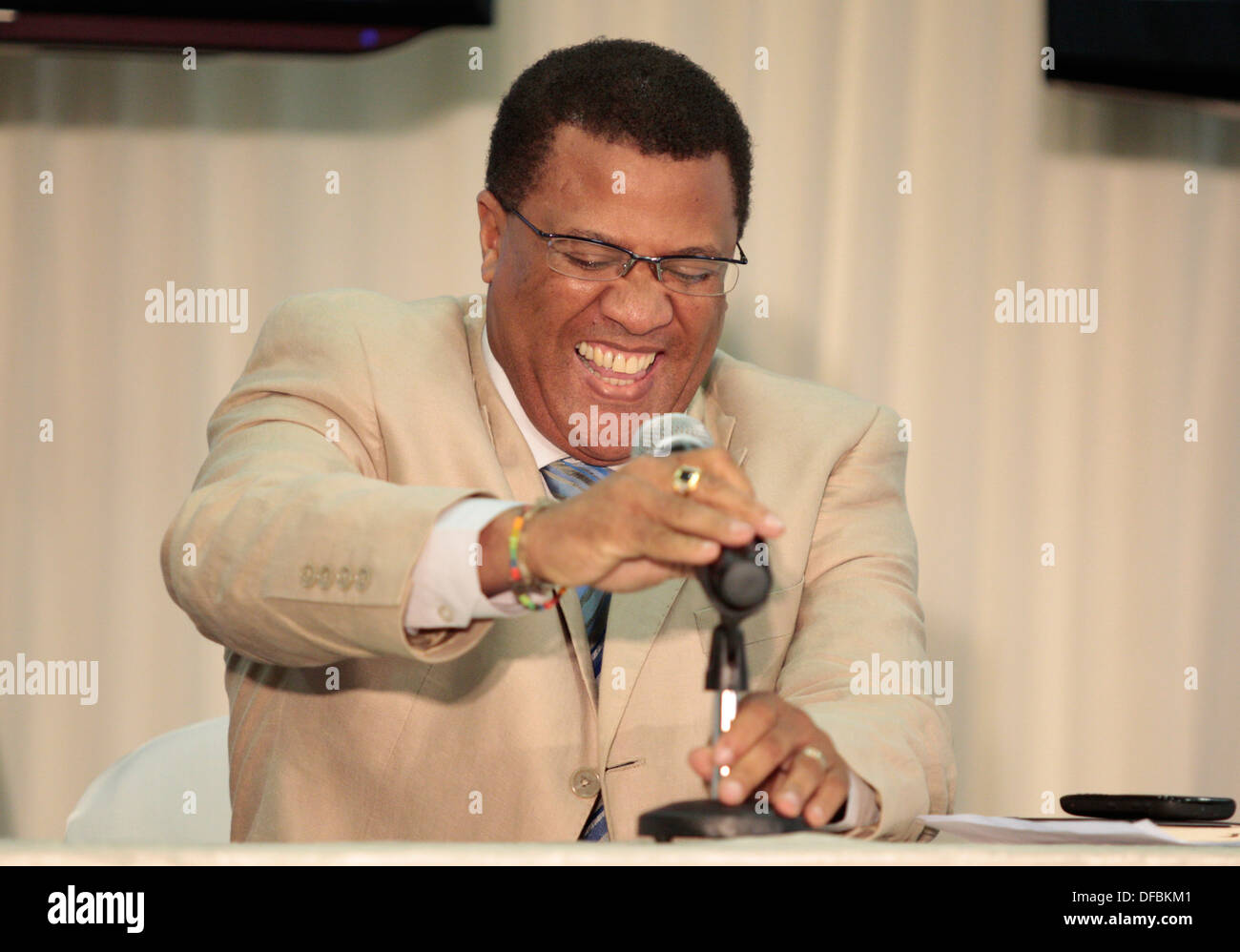 CEO Cricket South Africa Gerald Majola laughs as he fumbles with a microphone during a press conference held Moses Mabhida - Stock Image