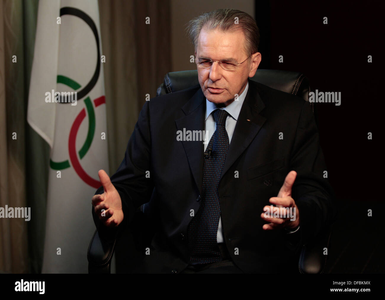 IOC President Jacques Rogge is photographed an interview during his visit to Durban for 7th World Conference on Sport Education - Stock Image