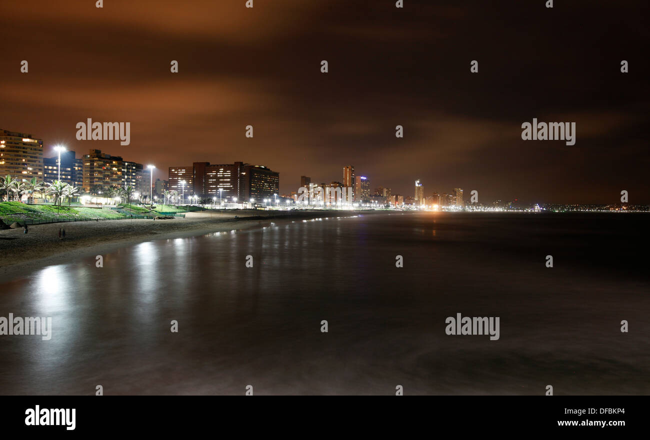 Ushaka Beach on Durban's Golden Mile photographed at night, 2011. © Rogan Ward 2011 - Stock Image