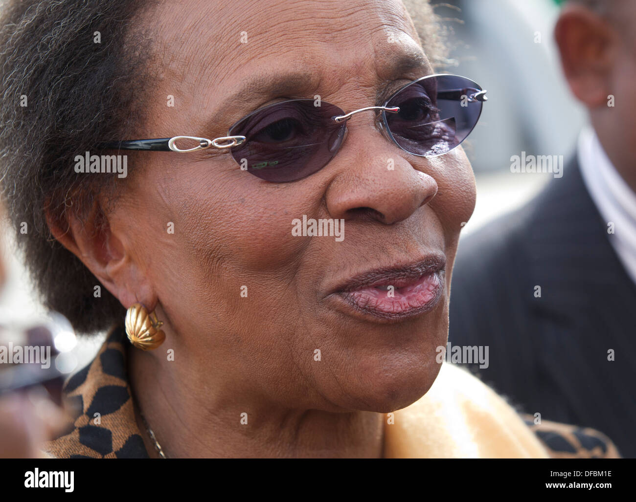 Chairperson Independant Electoral Committee South Africa Brigalia Bam visits a voting station near Nkandla where Stock Photo