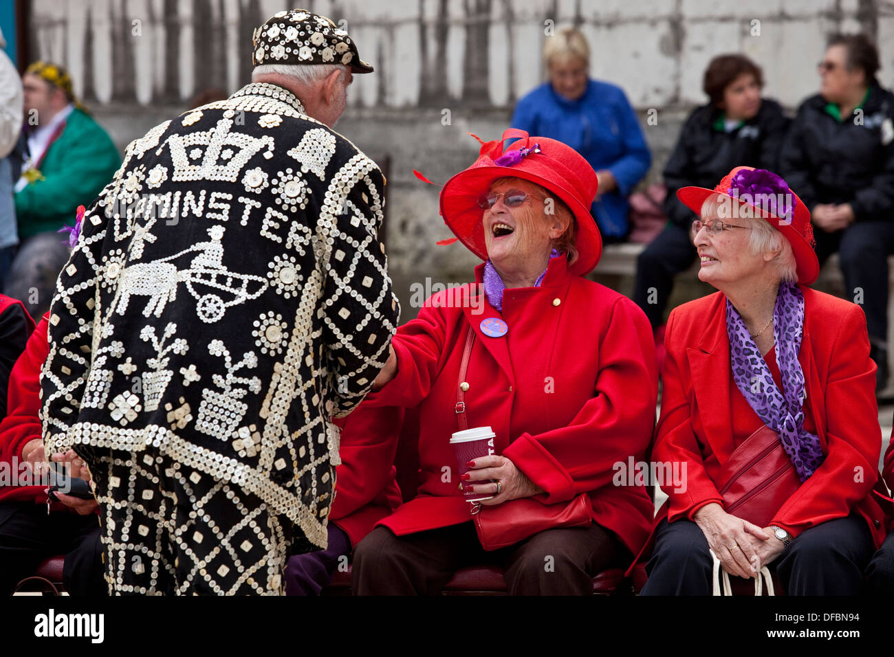 A Pearly King Talking With The Crowd, The Pearly Kings and Queens Harvest Festival, London, England - Stock Image