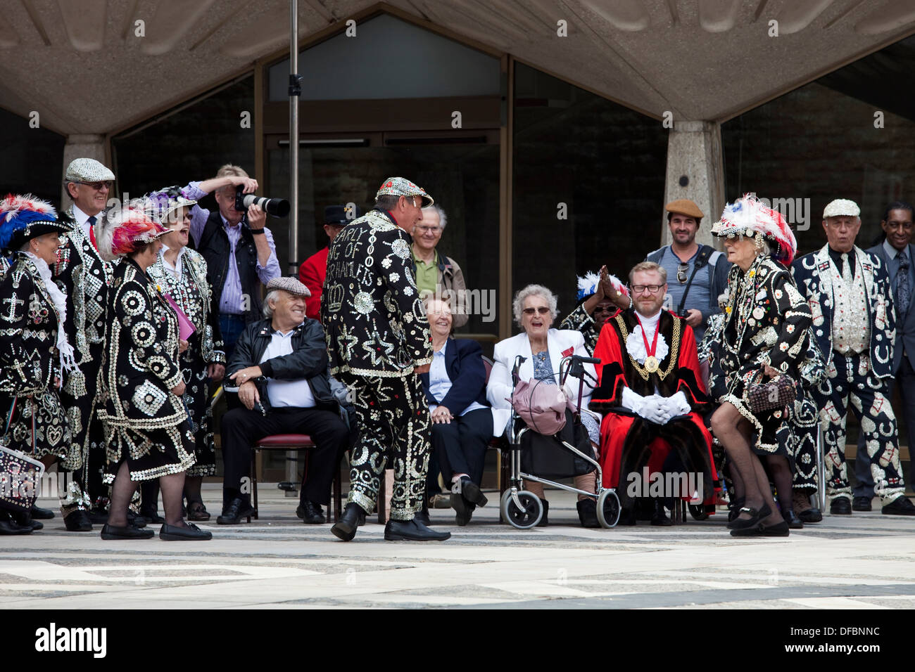 The Pearly Kings and Queens Society Costermongers Harvest Festival, London, England - Stock Image