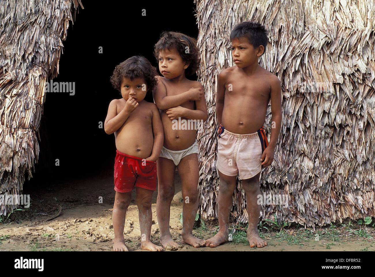 Peru Amazon Rain Forest Yagua Children