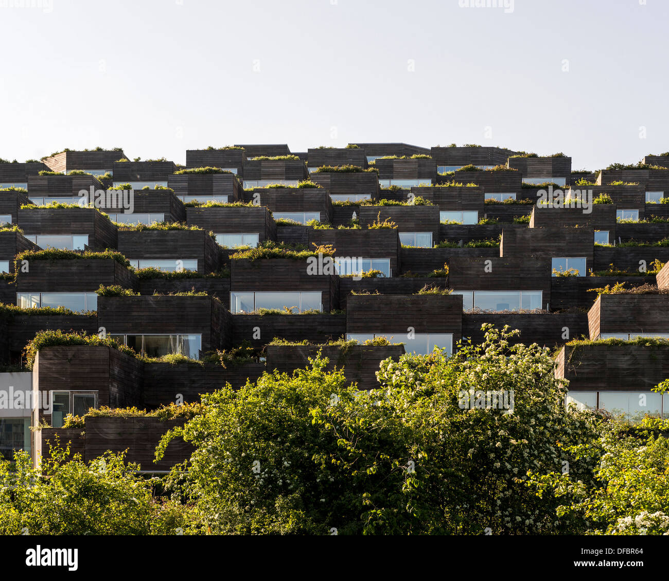 Mountain Dwelling (Bjerget), Copenhagen, Denmark. Architect: Bjarke Ingels Group (BIG), 2008. View of the apartments Stock Photo