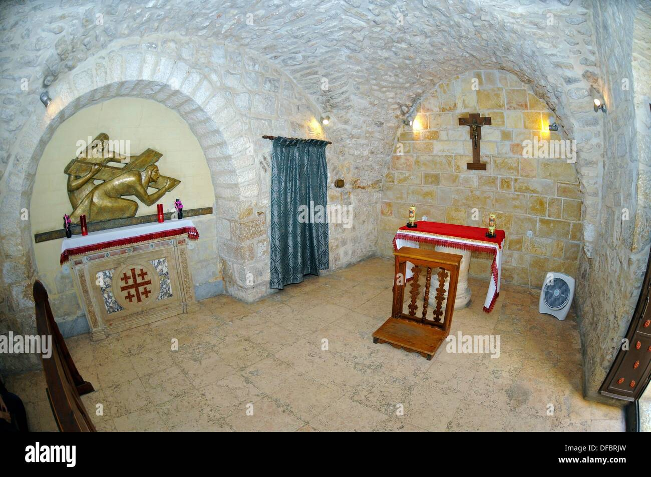 The Franciscan chapel of the fifth station of the Via Dolorosa, where the biblical event is commemorated, in which Stock Photo
