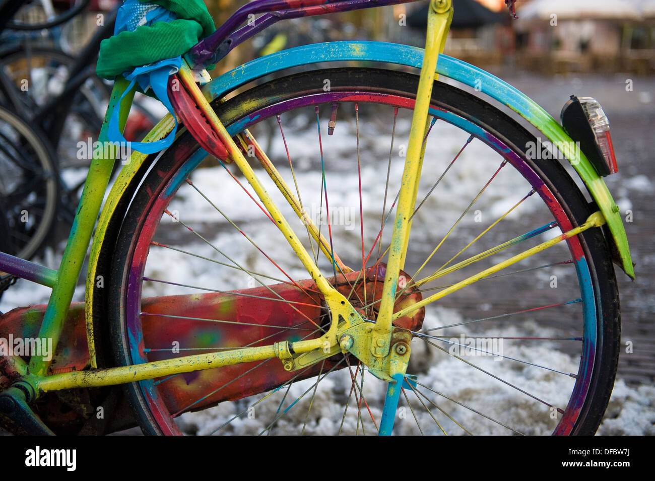 Dutch bicycle painted in different colors, closeup detail, Amersfoort, Netherlands - Stock Image