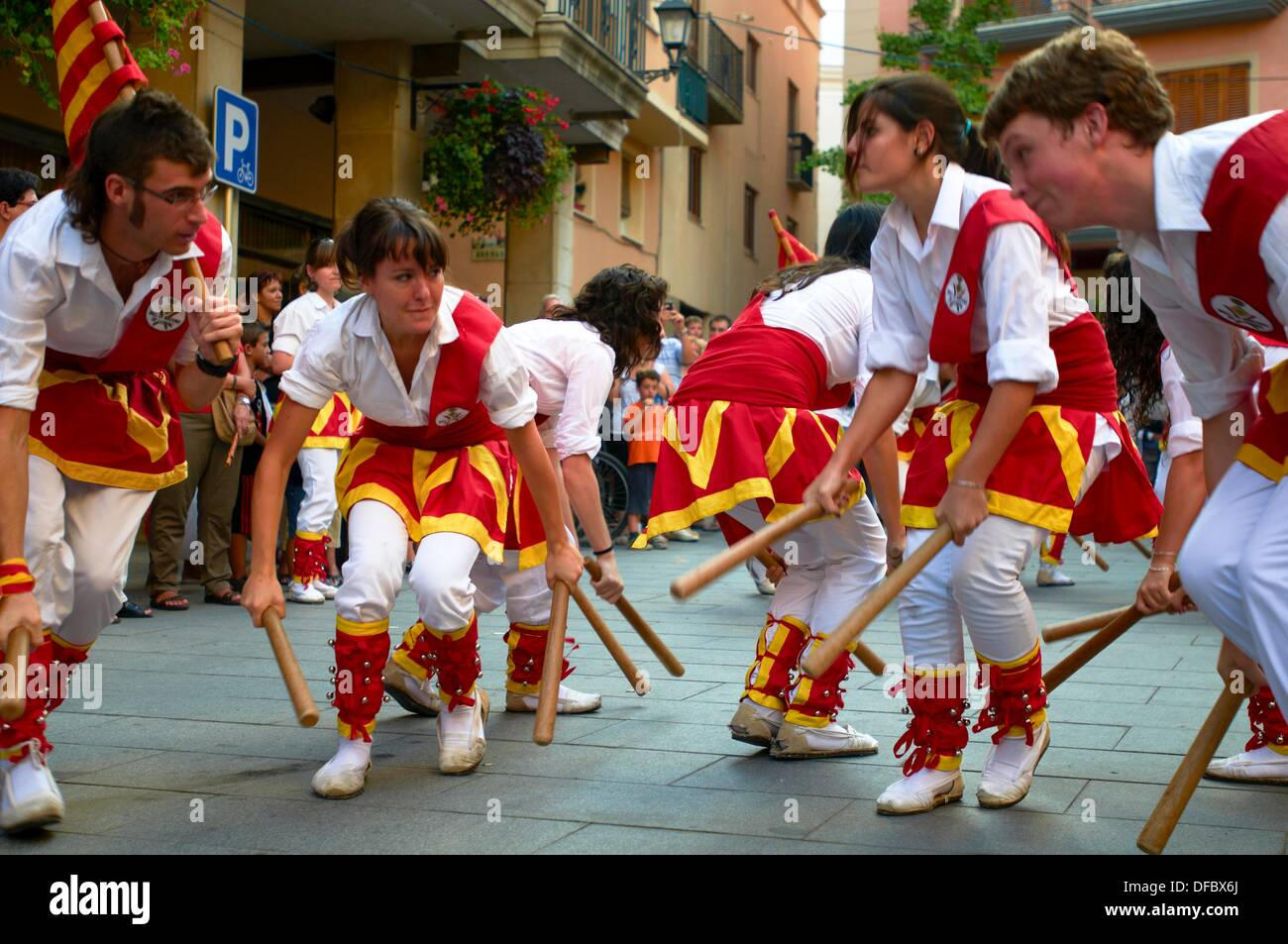 -Catalonian Dancers and Traditions- Cambrils, Catalonia, Spain. - Stock Image