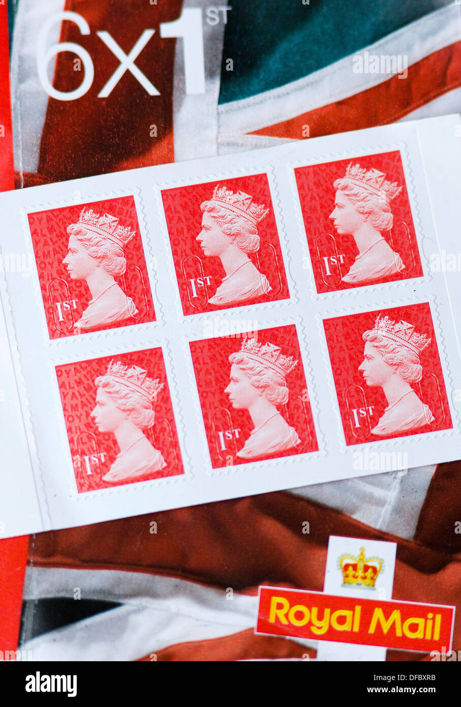 UNITED KINGDOM, London : A picture shows books of Royal Mail First Class Stamps on September 12, 2013.  - Stock Image