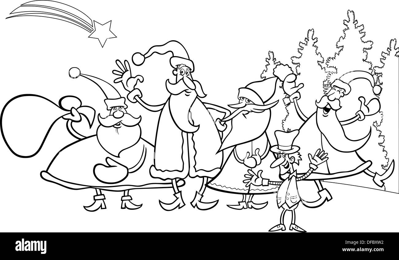 black and white cartoon illustration of santa claus group with elf christmas characters for coloring book