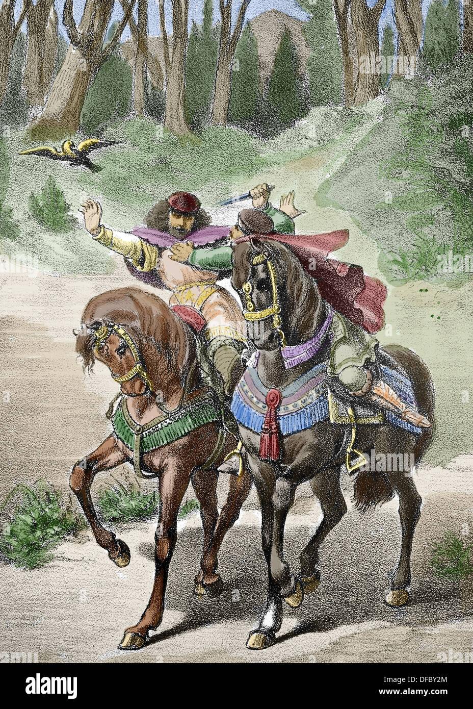 """Ramon Berenguer II the Towhead or """"Cap de estopes"""". (1053 or 1054 – 1082). Count of Barcelona Stock Photo"""
