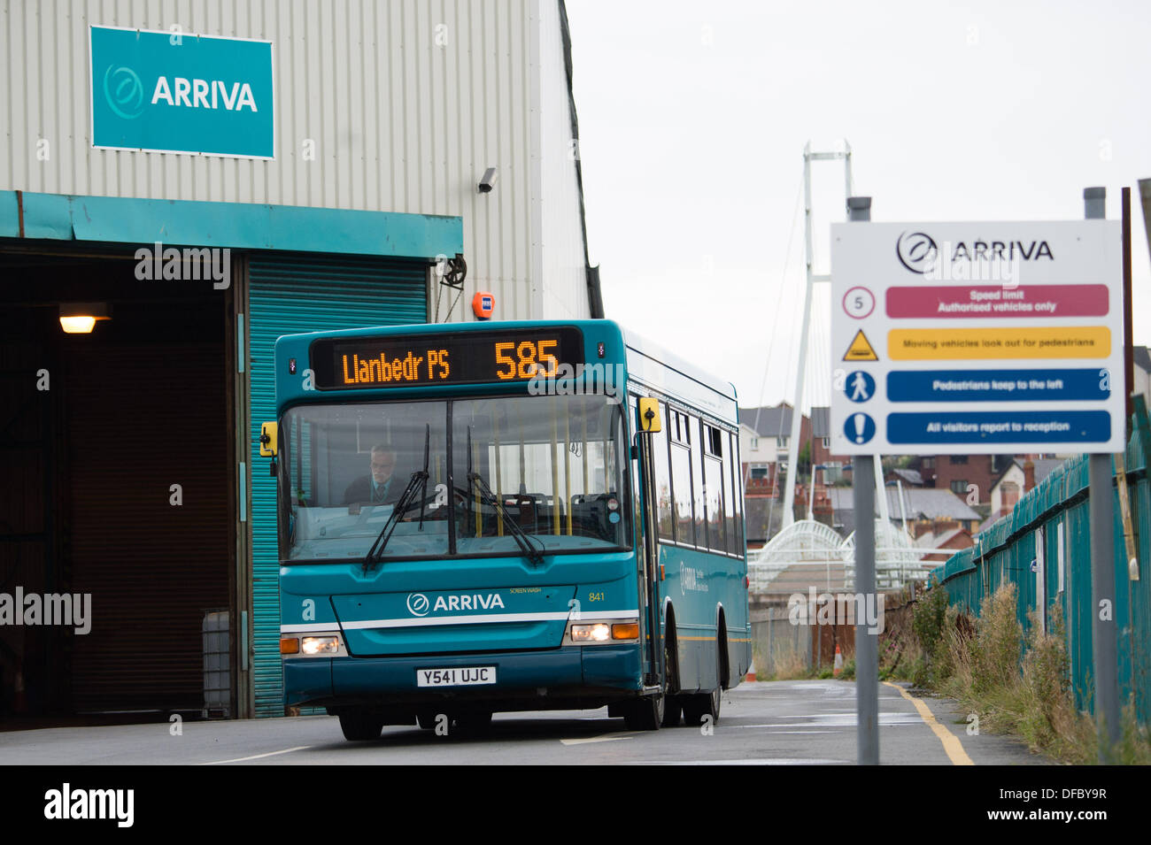 Aberystwyth Wales UK,  2 October 2013 In a surprise announcement  Arriva Buses Wales said it was pulling out of 6 routes in and around Aberystwyth, leading the closure of the local bus depot and garages in nearby towns on December 21 this year. The axing of the services will lead to the loss of 46 jobs. Arriva Buses Wales blamed public transport funding and fuel costs. 'A recent network review has led us to believe that current services in this area cannot, despite our best efforts, continue,' the company said in a statement. photo Credit:  keith morris/Alamy Live News - Stock Image