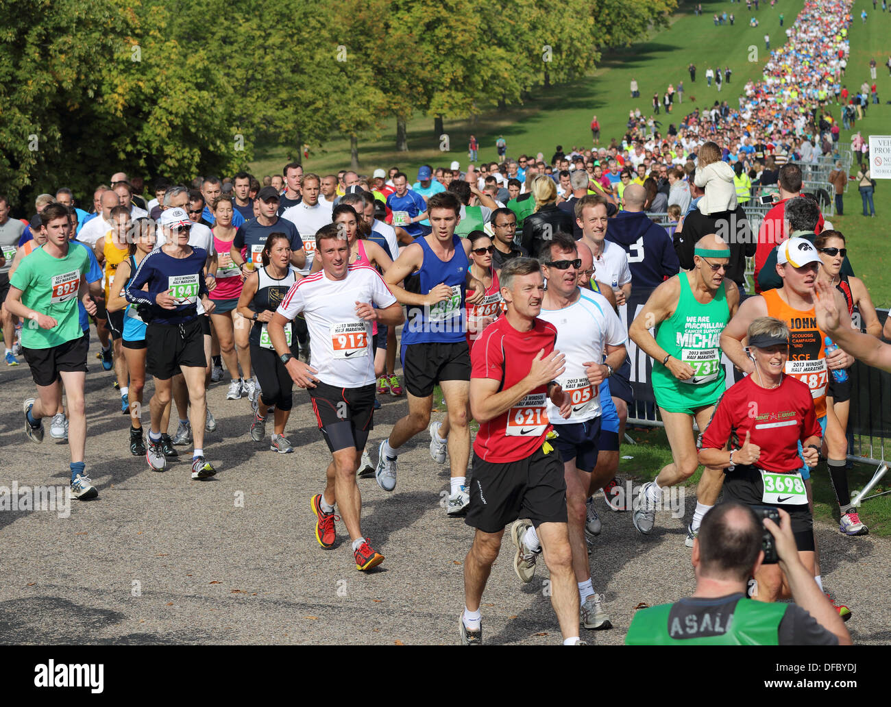Runners in the 2013 Windsor Half Marathon in Windsor Great Park, Berkshire - Stock Image
