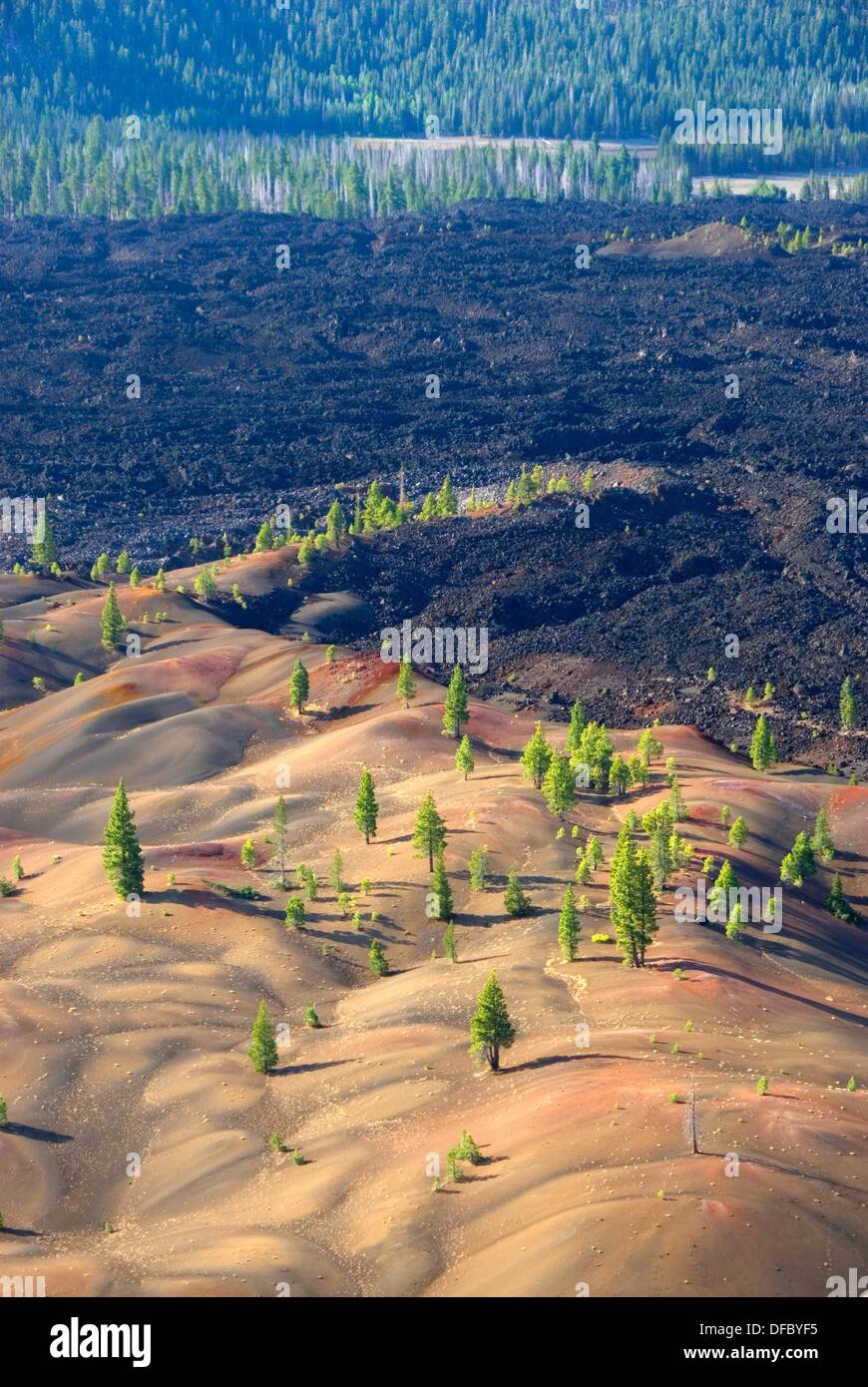 Fantastic Lava Flow from Cinder Cone, Lassen Volcanic National Park, California, USA - Stock Image