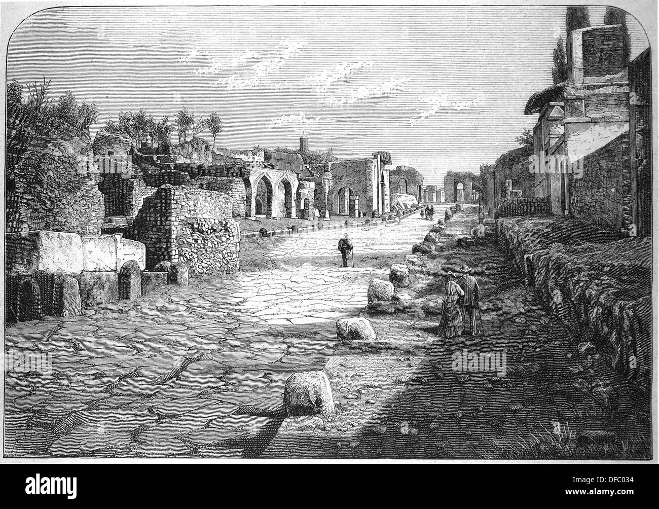 Italy. Pompeii. Ancient Roman town-city. Sreet of Tombs. Engraving. The Iberian Illustration. 1885. - Stock Image