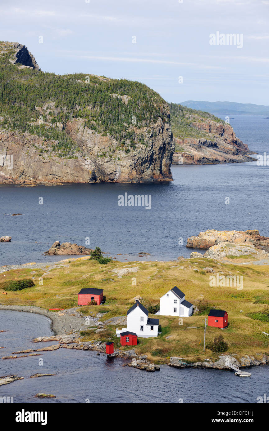 Aerial view of Burden´s Point, Salvage village, east coast of Newfoundland, Canada - Stock Image