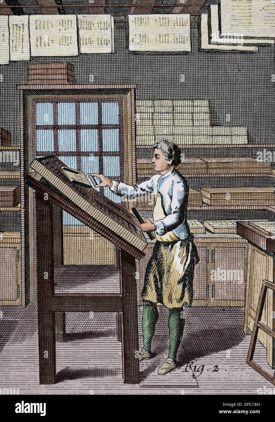 Printing. Composing room of a print shop 'Encyclopedie'. - Stock Image