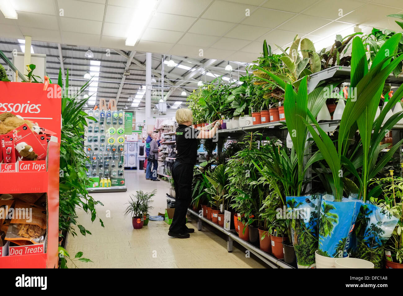 A member of staff working in a Homebase store. - Stock Image
