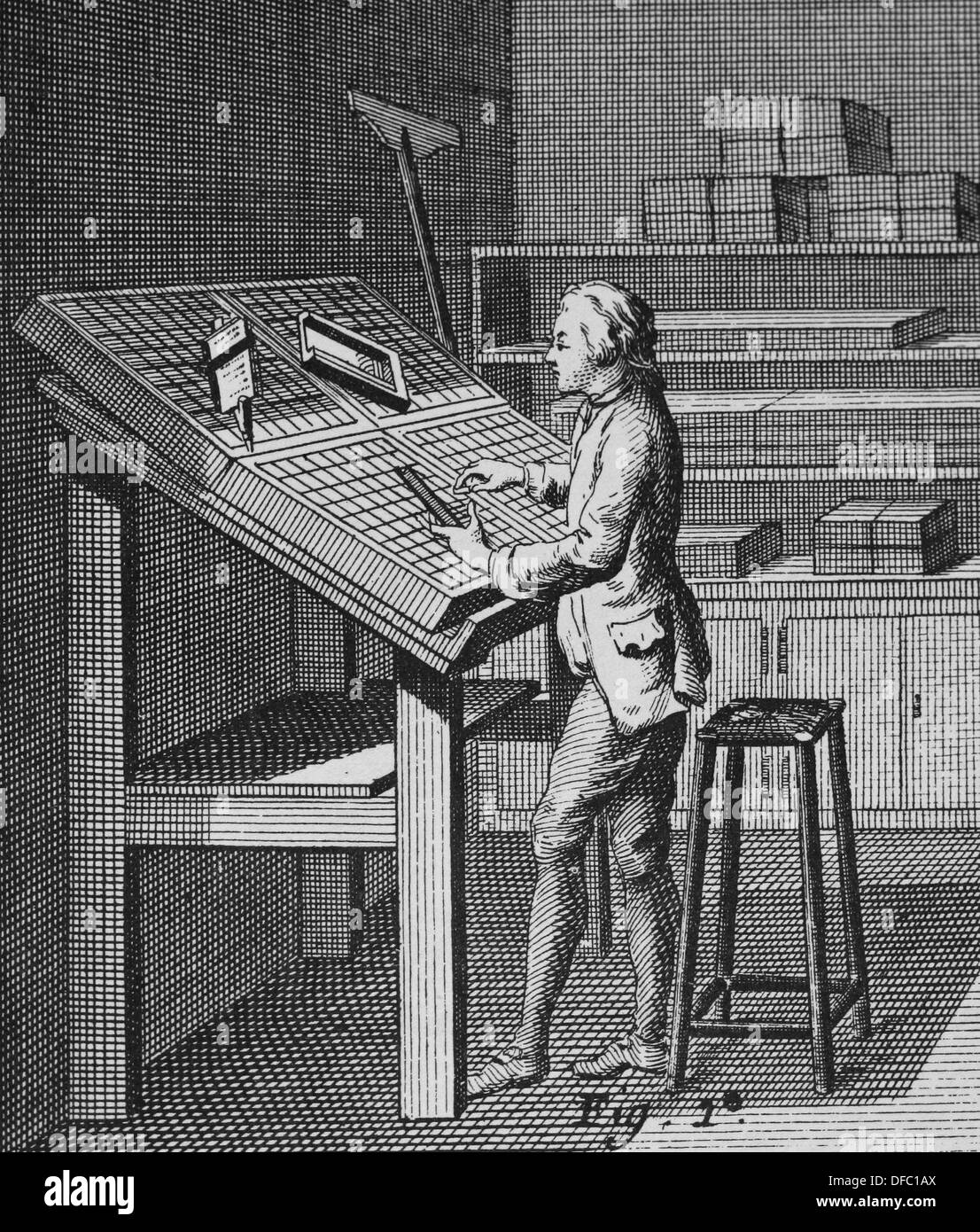 Printing. The typesetter (Fig 1) has the letters all arranged before him in the typecast. 'Encyclopedie'. - Stock Image
