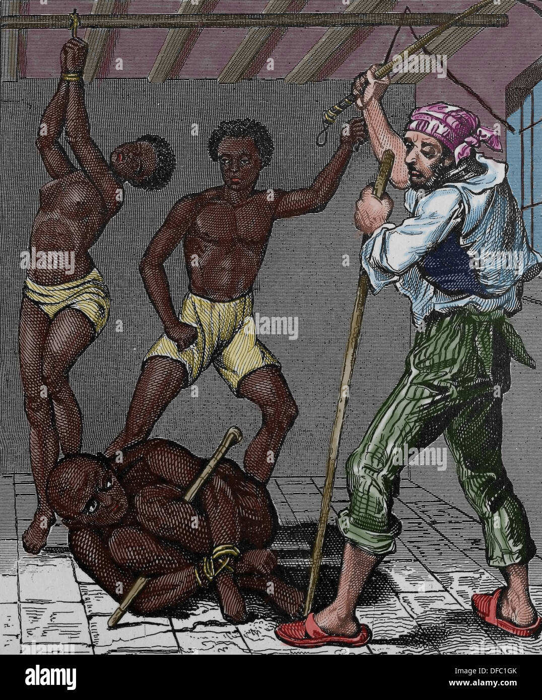 Brazilian slave trade. Engraving. (Later colouration). Iconographic Enclyclopaedia of science, Literature and Art. - Stock Image