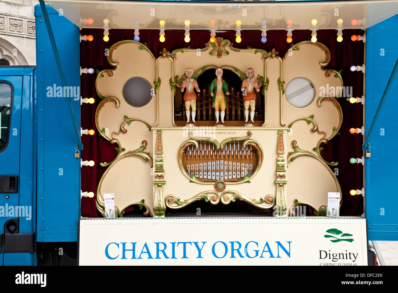 Old Fashioned Organ, The Pearly Kings and Queens Society Harvest Festival, London, England - Stock Image