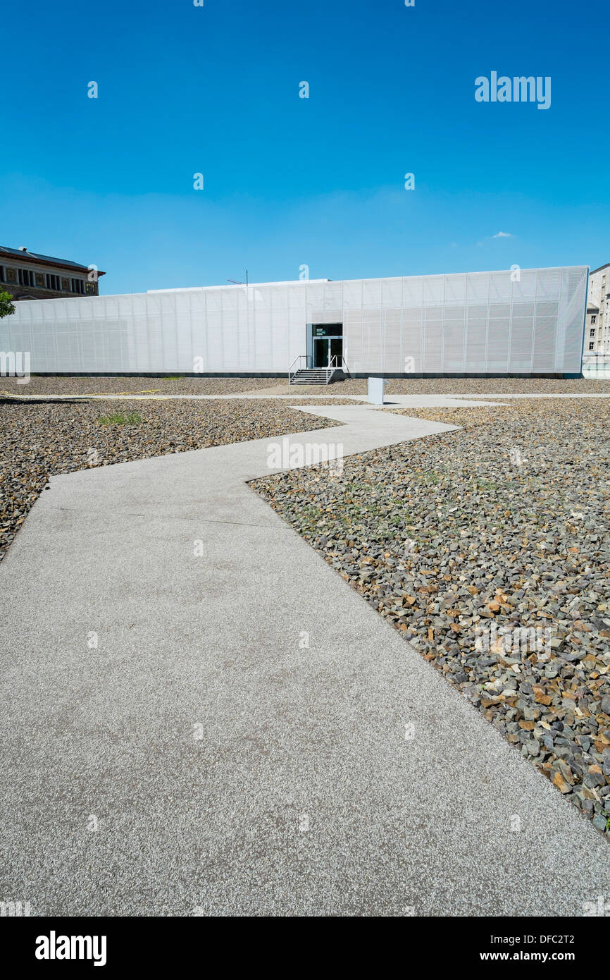 Exterior view of Topography of Terror visitors centre at site of former Gestapo headquarters in Berlin Germany - Stock Image