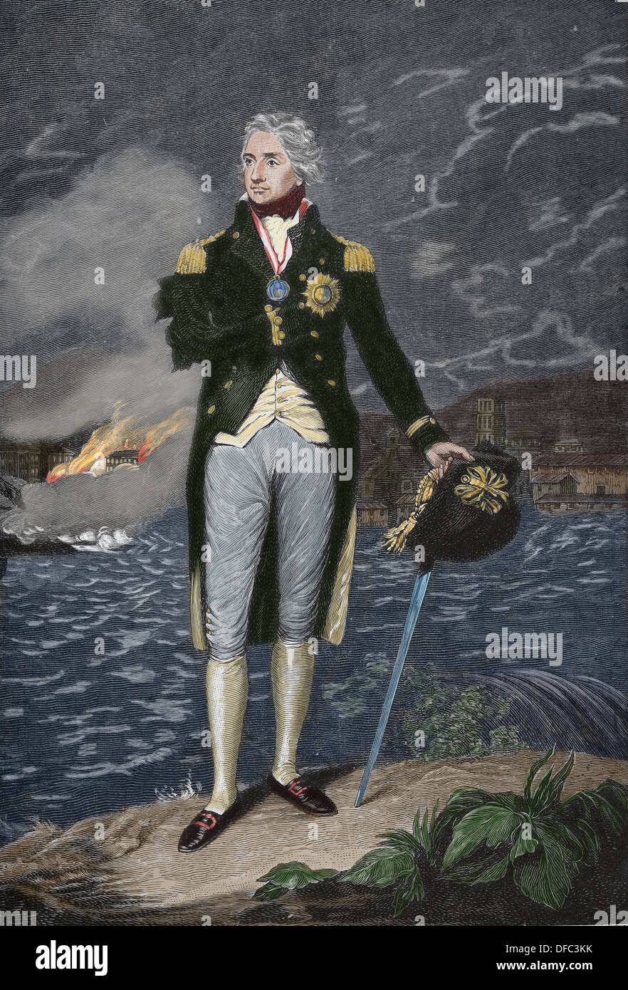 Horatio Nelson (1758 – 1805). British flag officer famous for his service in the Royal Navy. Engraving. - Stock Image