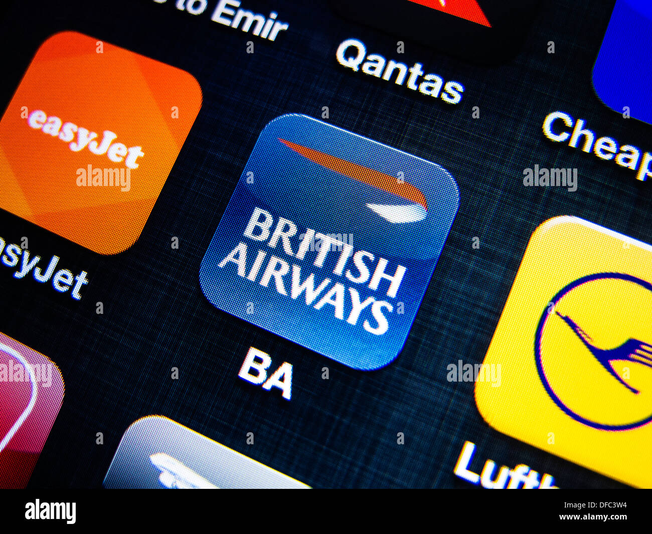 detail of British Airways airline app icon on iPhone screen - Stock Image
