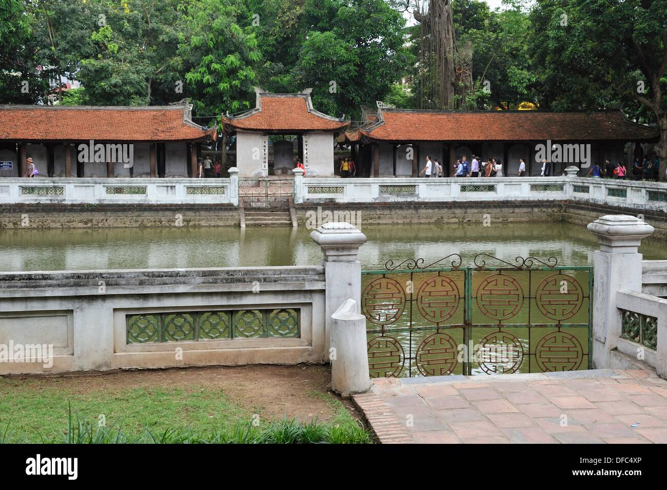 large pond, named Well Of Heavenly Clarity, third courtyard, Temple of Literature, Hanoi, Northern Vietnam, southeast asia - Stock Image