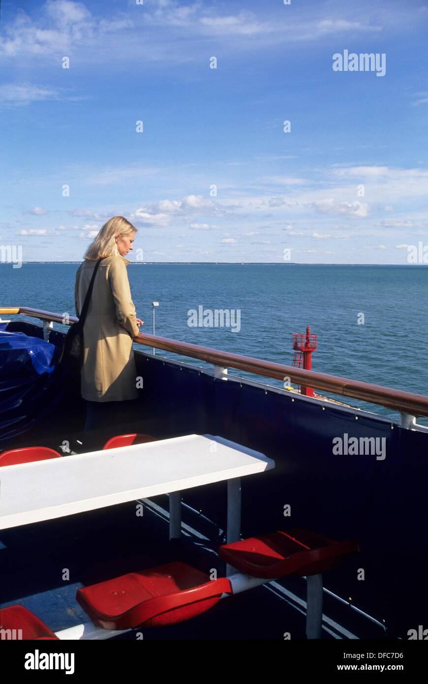 a bord du ferry pour Saaremaa,region de Saare,Estonie,pays balte,europe du nord - Stock Image