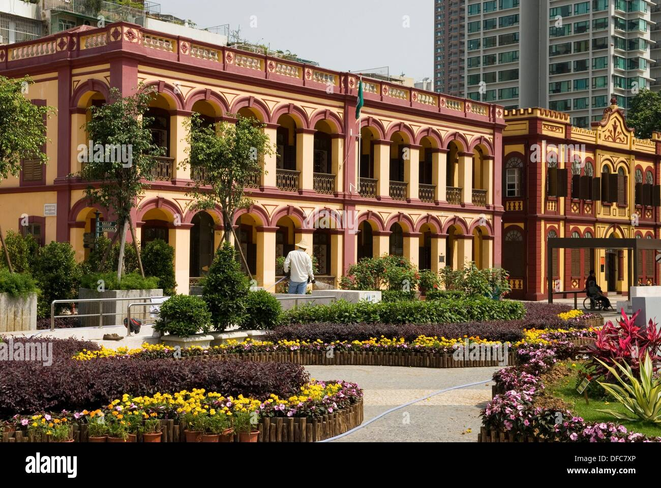 neo-classical buildings preserved, Tap Seac square,Macau,Special Administrative Region,China,Asia - Stock Image