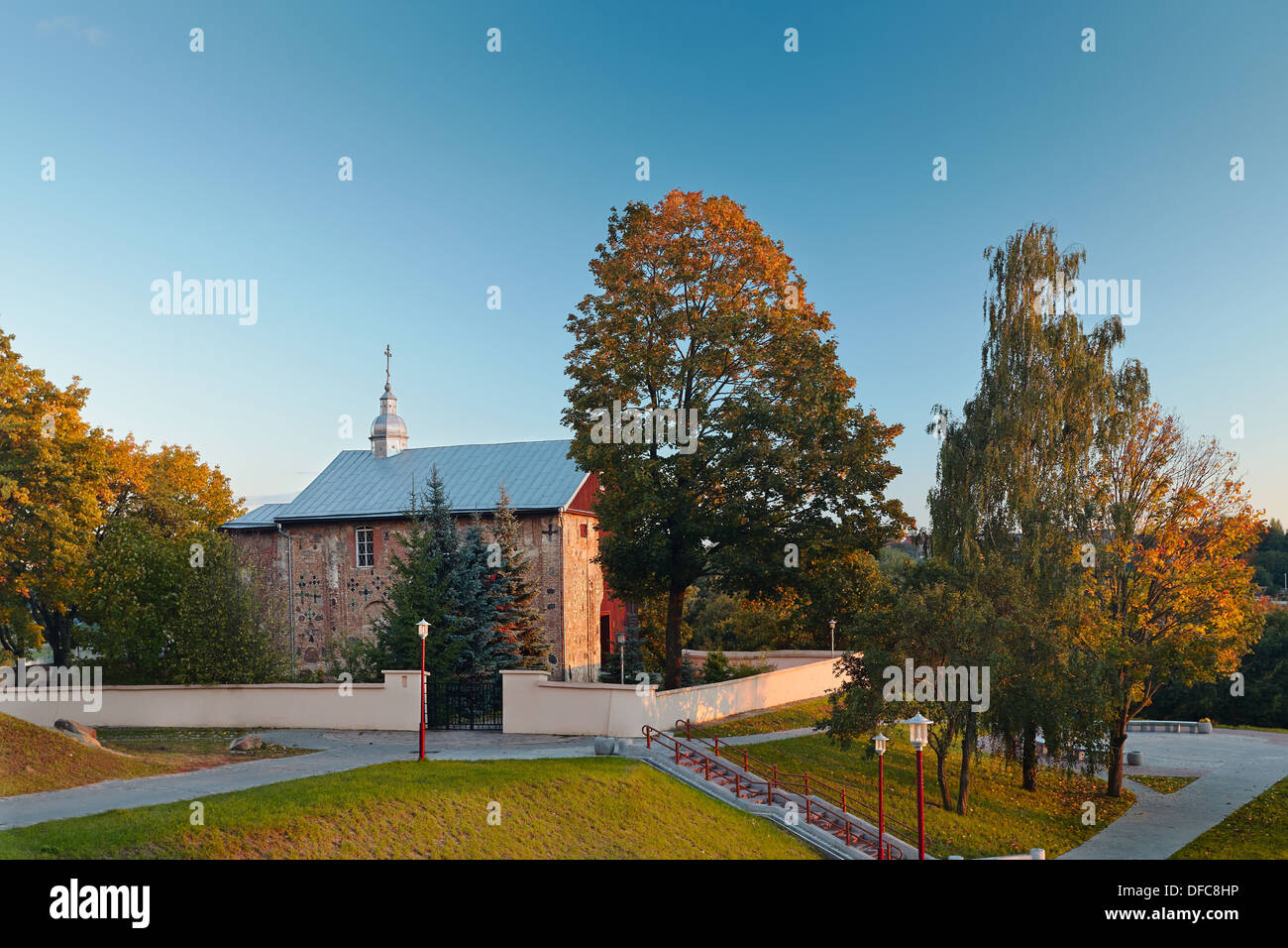 Church of St Boris and Gleb or Kalozhskaya in Autumn Evening Grodno Belarus - Stock Image