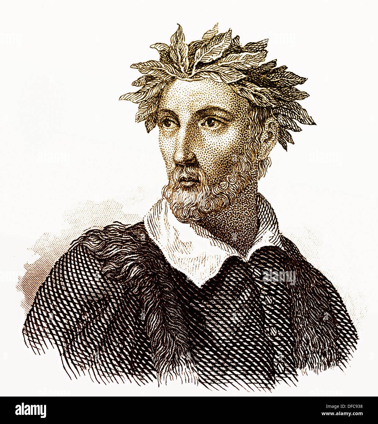 Portrait of Torquato Tasso, 1544 - 1595, an Italian poet of the Counter-Reformation - Stock Image
