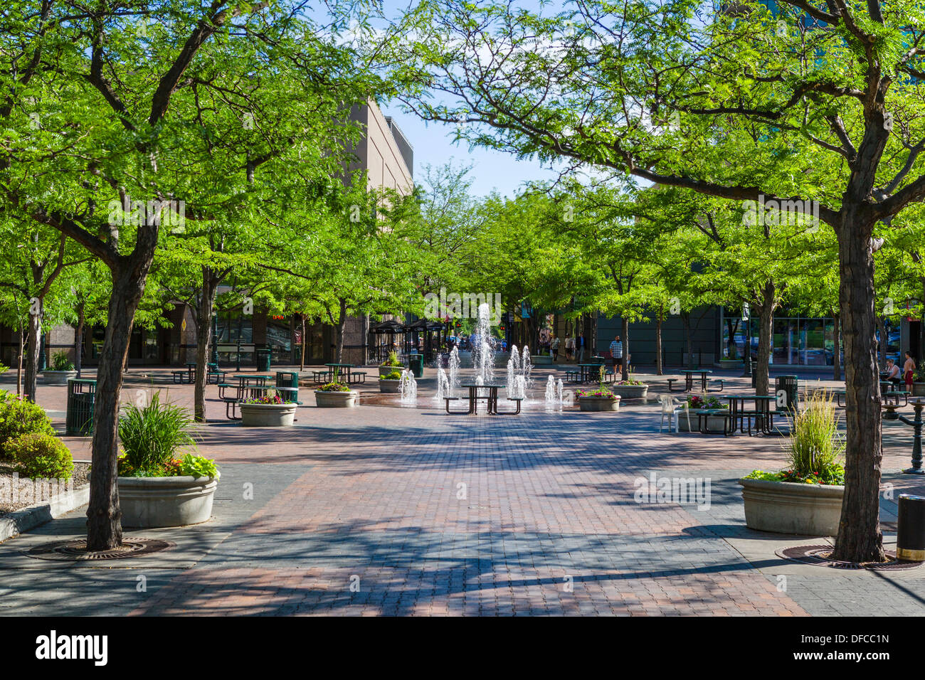 Pedestrian area of N 8th Street in historic downtown Boise, Idaho, USA - Stock Image
