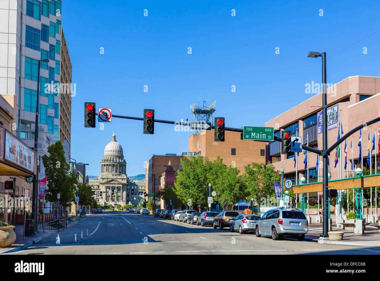 View up Capitol Avenue towards the Idaho State Capitol building, Boise, Idaho, USA - Stock Image