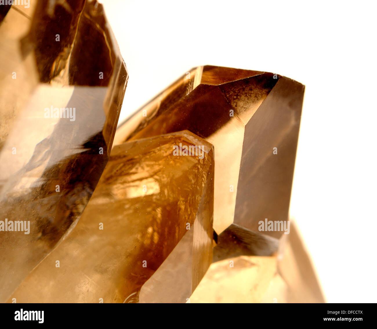 Smokey Quartz crystals - points - Stock Image