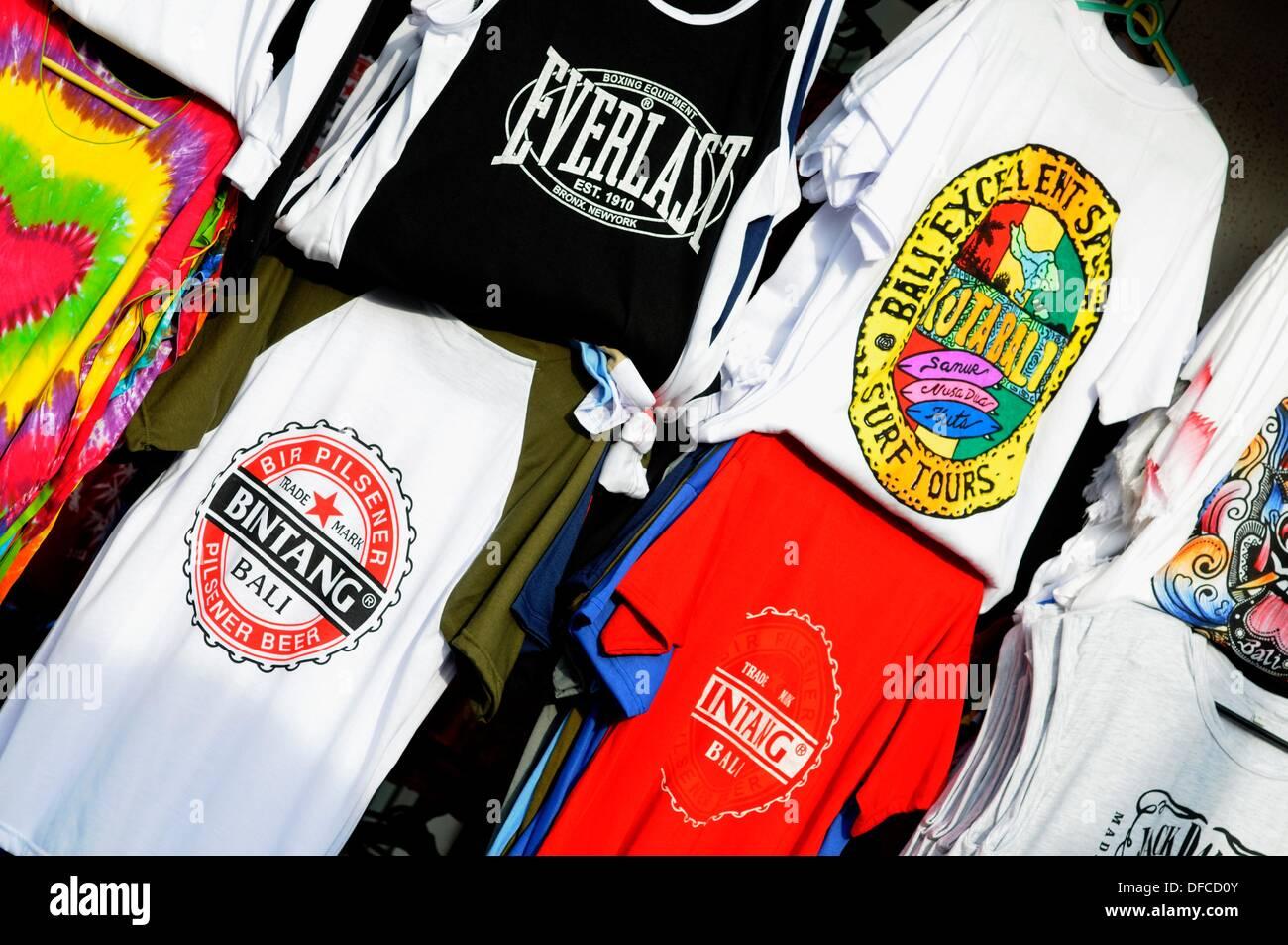 t-shirts, poppies 1, Kuta, Bali, Indonesia Stock Photo