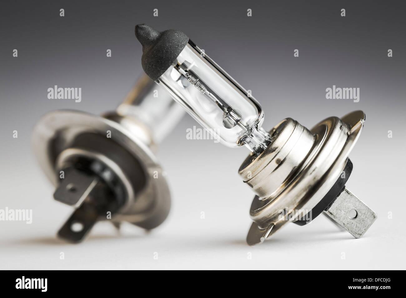 Automobile lamps on plain background, close up - Stock Image
