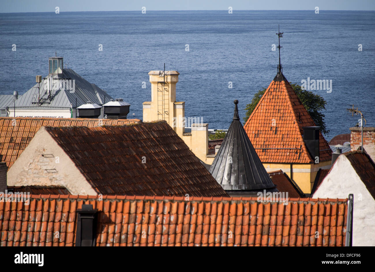 View over Hanseatic town of Visby overlooking the harbor on the Swedish island of Gotland int the Balic Sea - Stock Image