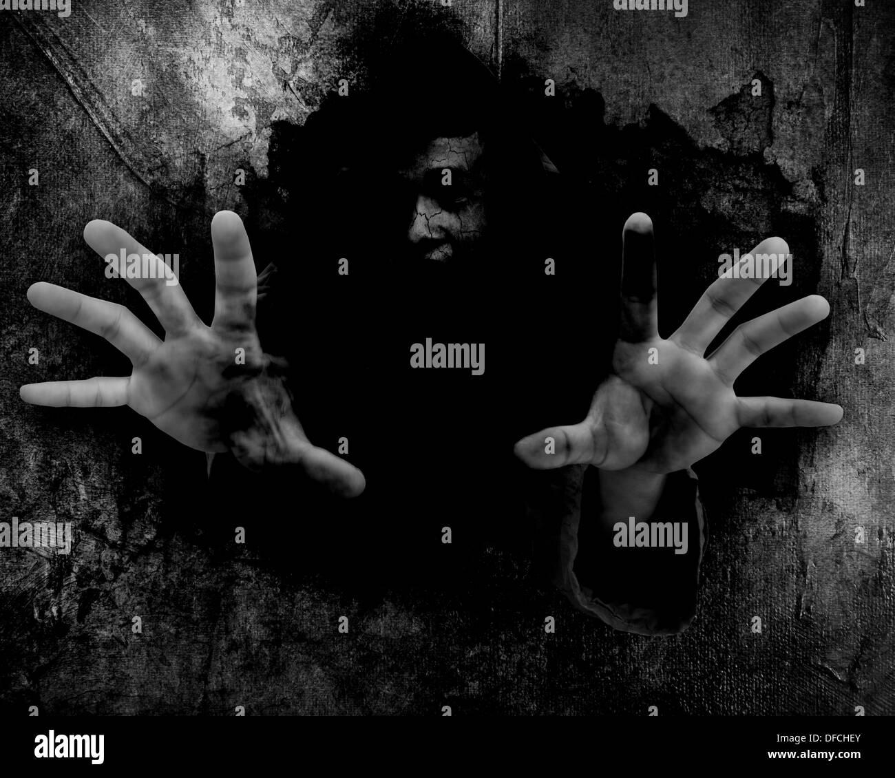 Dark Wall,Horror halloween - Stock Image