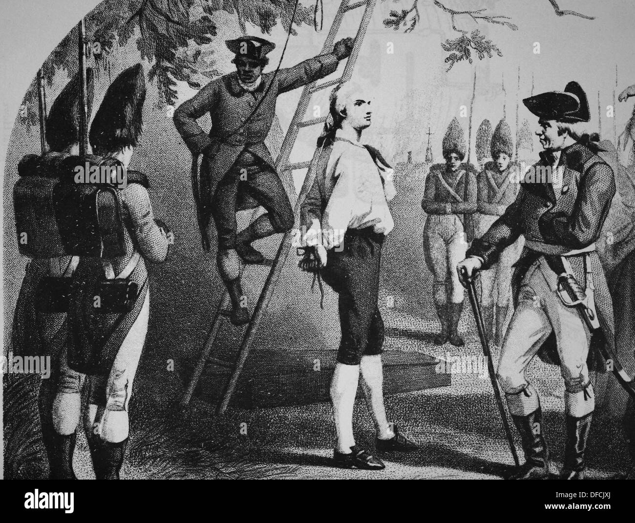 Nathan Hale (1755 – 1776) Soldier for the Continental Army during the American Revolutionary War. Engraving. - Stock Image