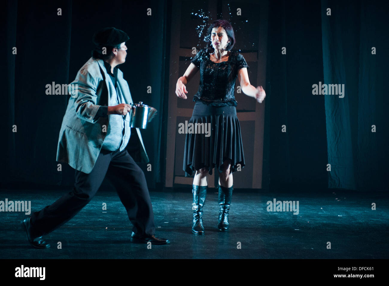 London, UK - 2 October 2013: performers of the Bolivian company Teatro de los Andes transpose Hamlet to Bolivia Stock Photo