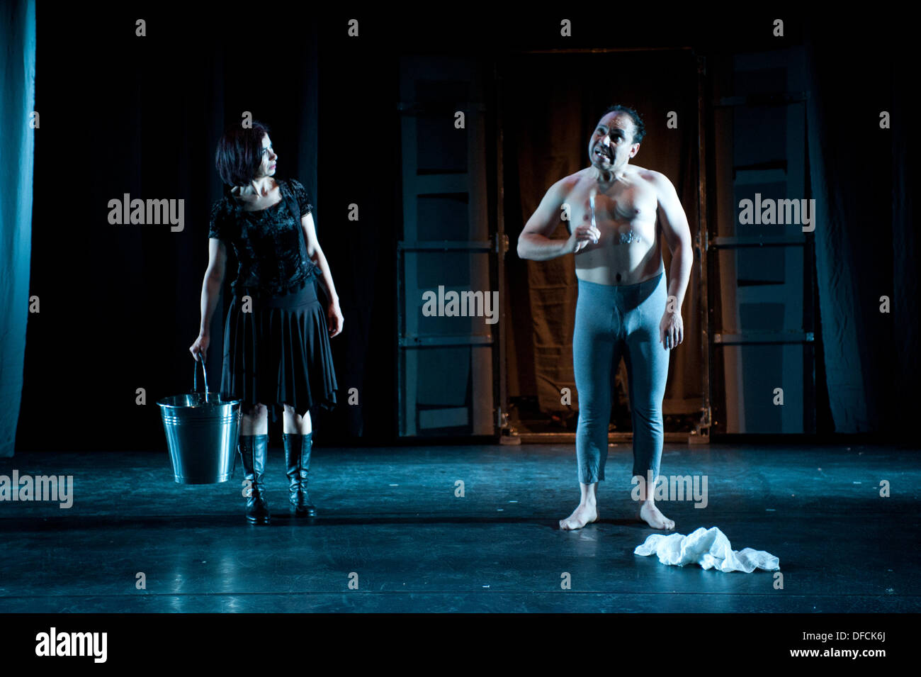 London, UK - 2 October 2013: performers of the Bolivian company Teatro de los Andes transpose Hamlet to Bolivia in this production. , Credit:  Piero Cruciatti/Alamy Live News - Stock Image