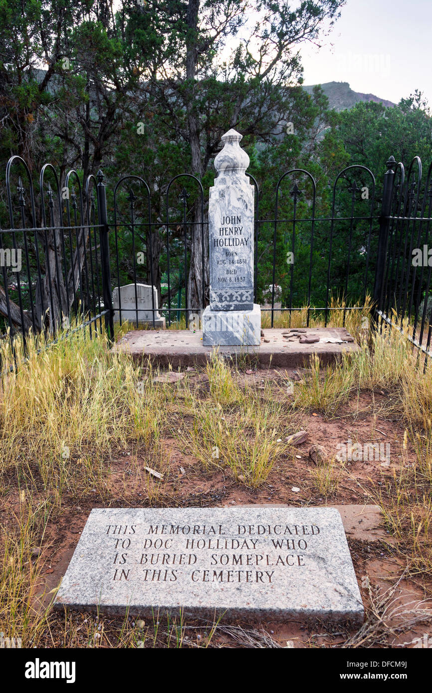 Grave of Doc Holliday, gunfighter, at Glenwood Springs, Colorado, USA - Stock Image