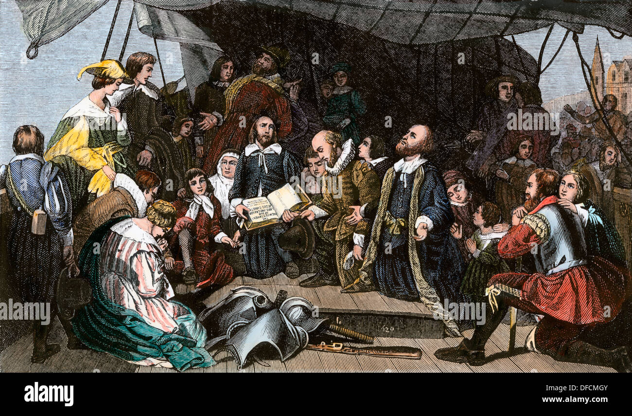 Pilgrim's farewell meeting on the 'Mayflower,' 1620. Hand-colored woodcut - Stock Image