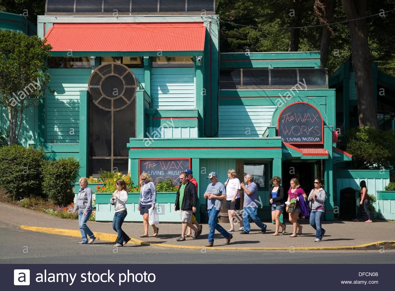 The Wax Works museum in the bay front area of Newport - Stock Image