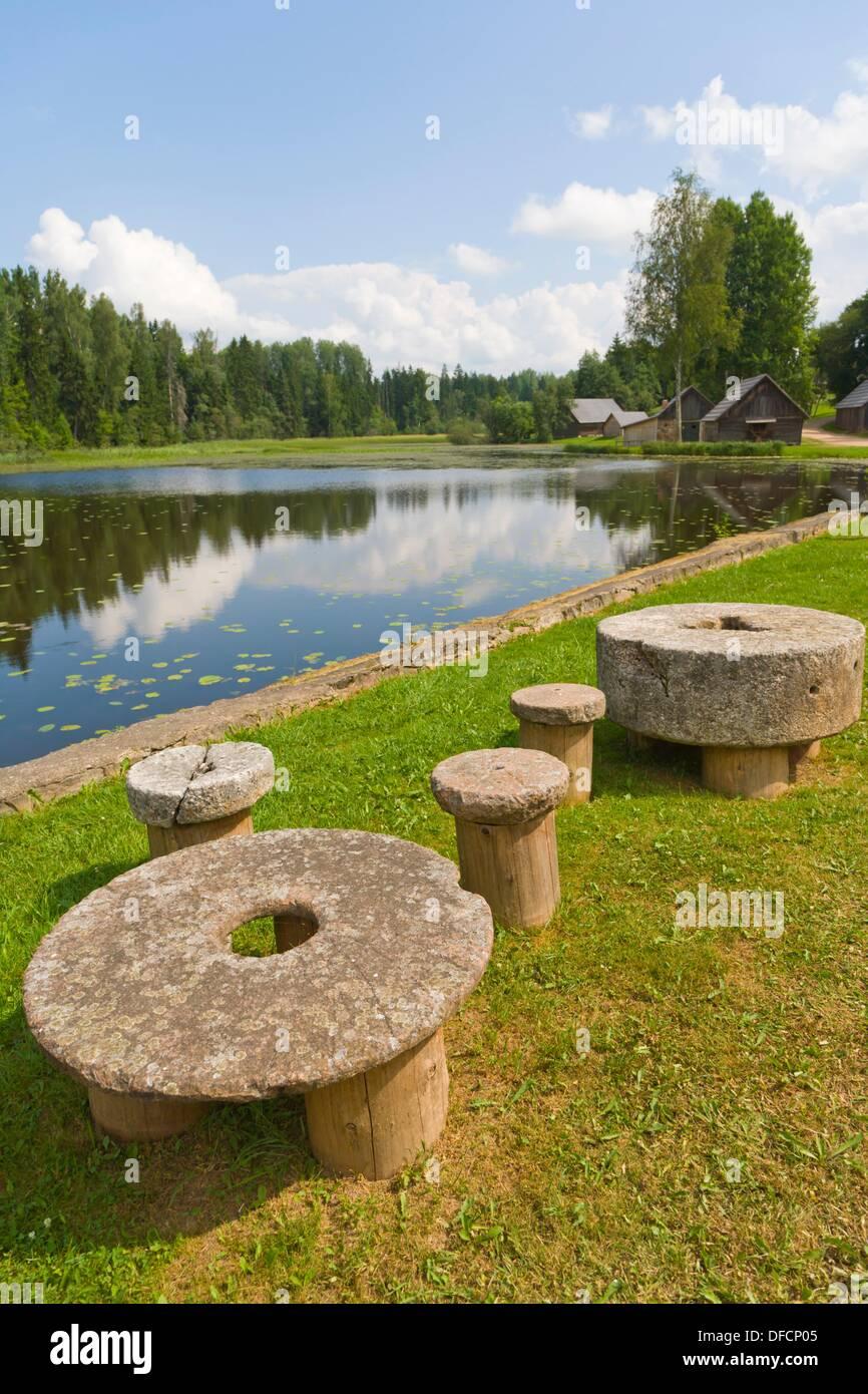 Lake, Viktora Kirpa Ates museum, Ate, Annas Parish, Aluksne municipality, Latvia. Stock Photo