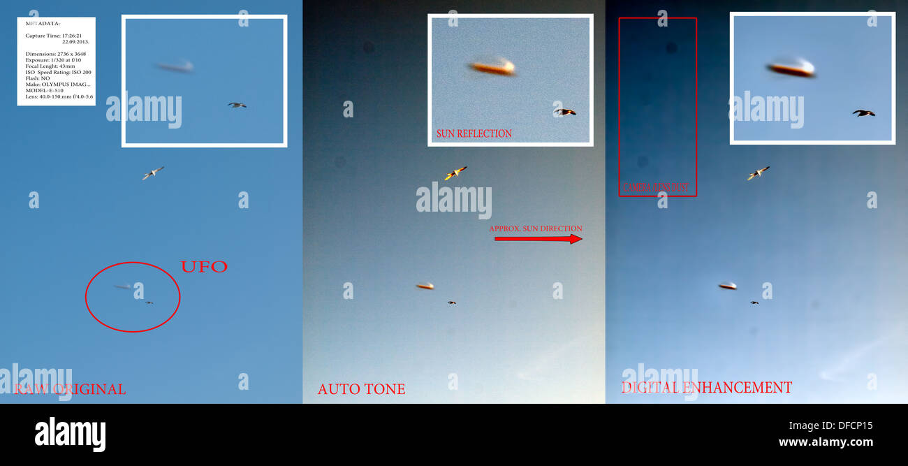 Compilation of 3 images (three degrees of  digital detail enhancement) of an unidentified flying object (UFO). See description! - Stock Image