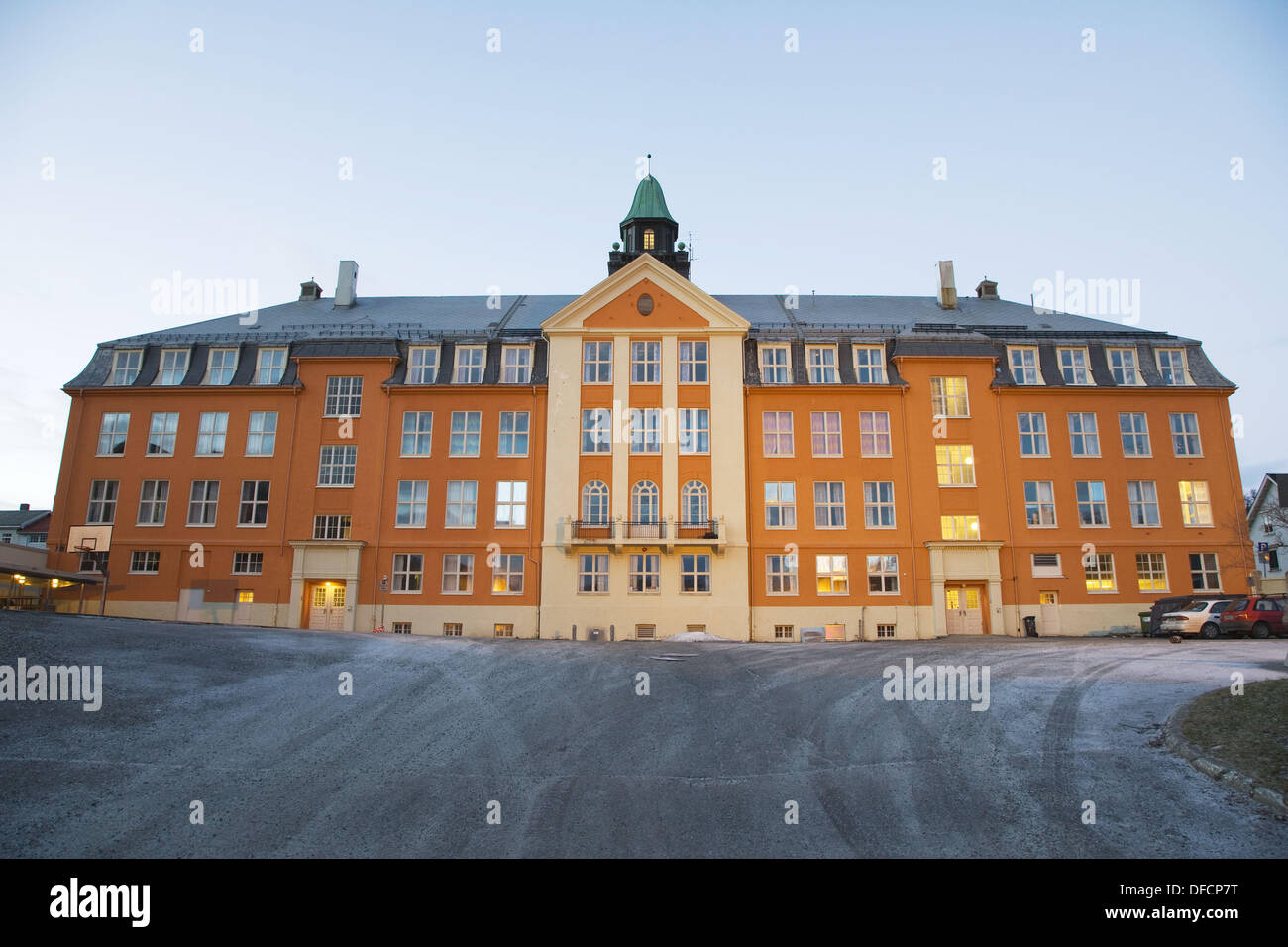 Kongsbakken Upper Secondary School in winter, polar night, Tromso. Norway - Stock Image